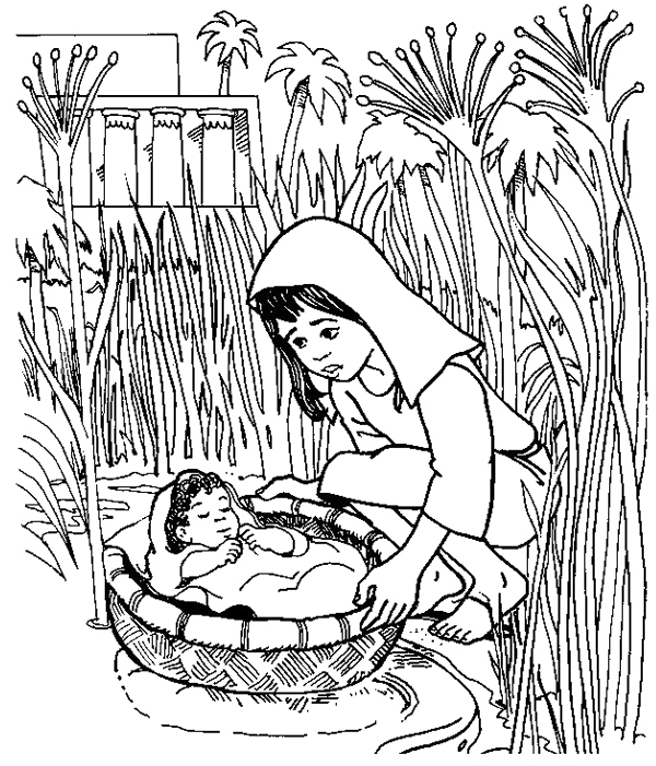 Baby Moses Coloring Page At Getdrawings Com Free For Personal Use