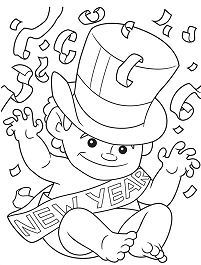 201x265 Happy New Year Coloring Pages
