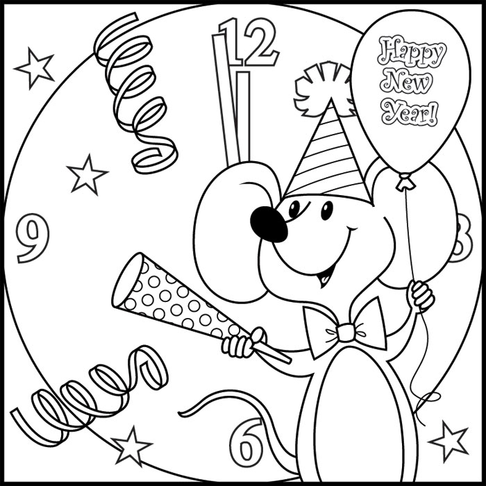 700x700 New Year Coloring Pages Free