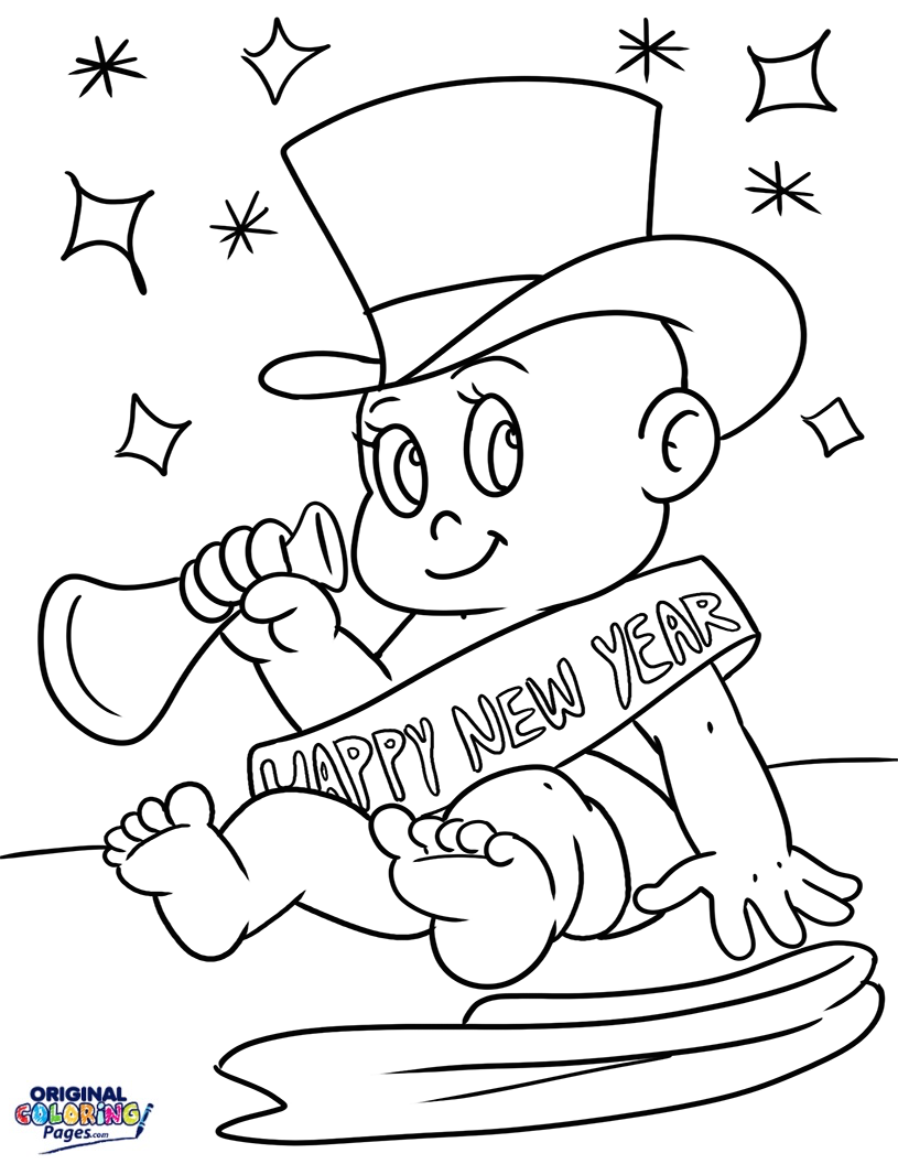 815x1056 New Years Baby New Year Coloring Page Coloring Pages Original