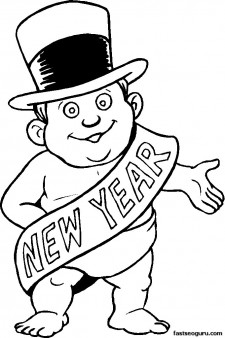 225x338 Printable Coloring Pages New Year Baby
