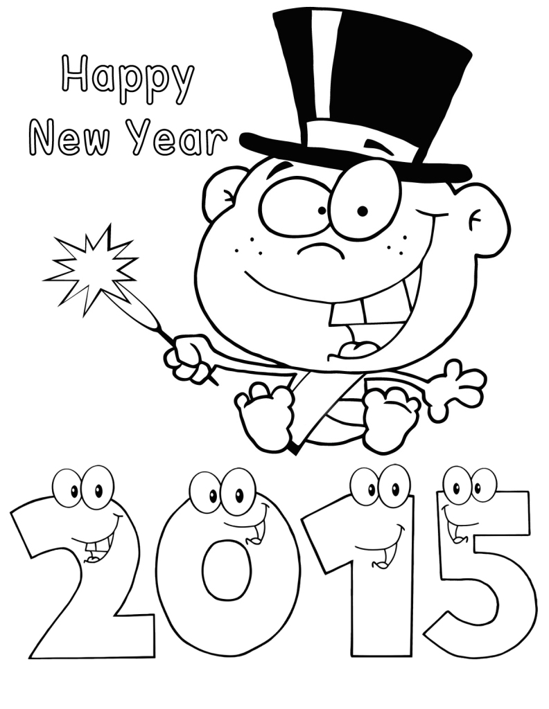 792x1024 Happy New Year Baby Colouring Pages