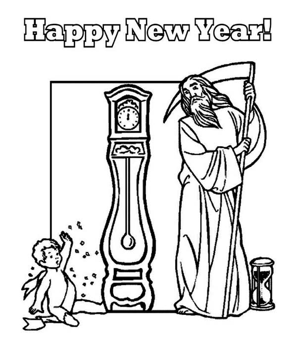 600x702 Father Time And Baby New Year Says Happy New Year To All Coloring