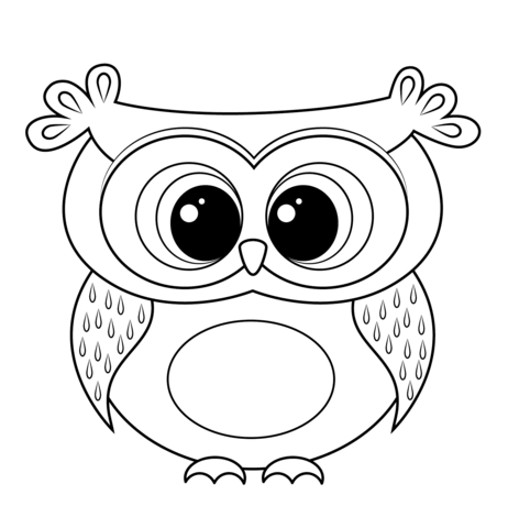 462x480 Cartoon Owl Coloring Page