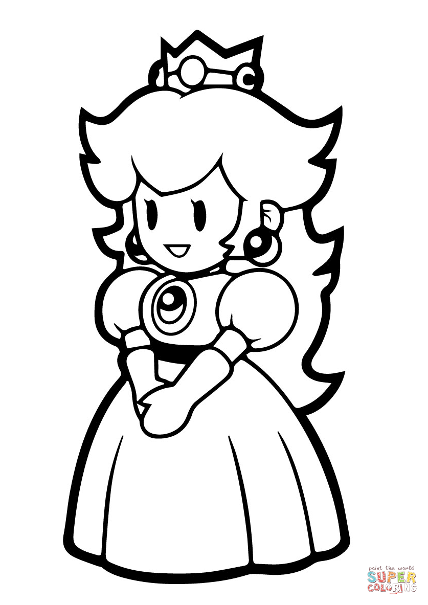837x1183 Simple Mario Princess Peach Coloring Pages To Print Paper Page