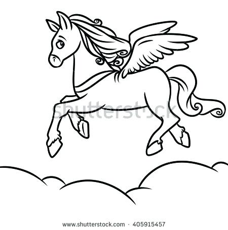 450x455 Pegasus Coloring Pages Flying Horse Coloring Pages Cartoon