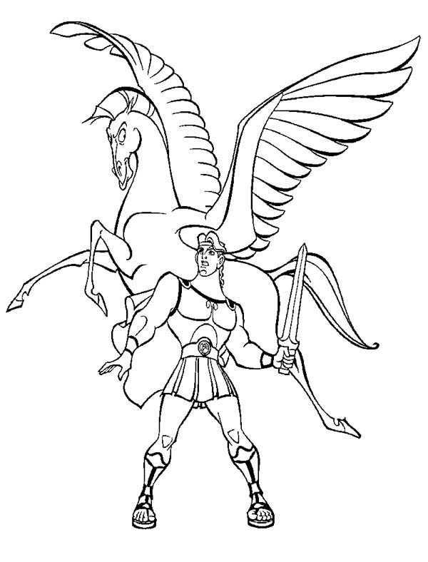 600x788 Hercules And Pegasus Coloring Page