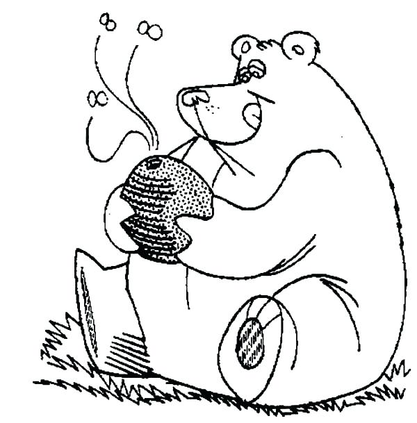 600x609 Baby Pooh Bear Digging Honey Jar Coloring Pages Coloring Sky Giant