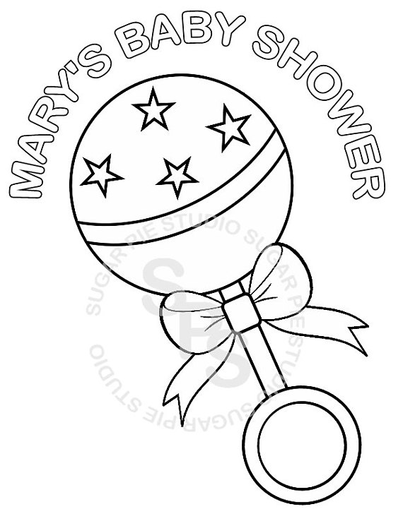 570x738 Baby Rattle Coloring Page Personalized Printable Baby, Baby Rattle