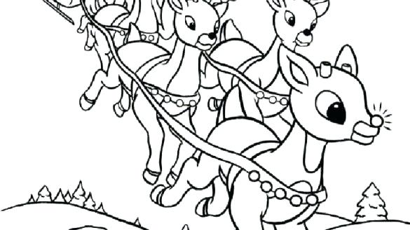 585x329 The Red Nosed Reindeer Coloring Pages Baby The Red Nosed Coloring
