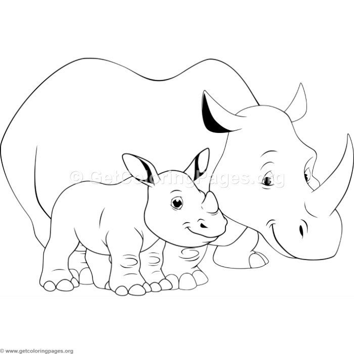 700x700 Mother Rhino And Baby Coloring Pages