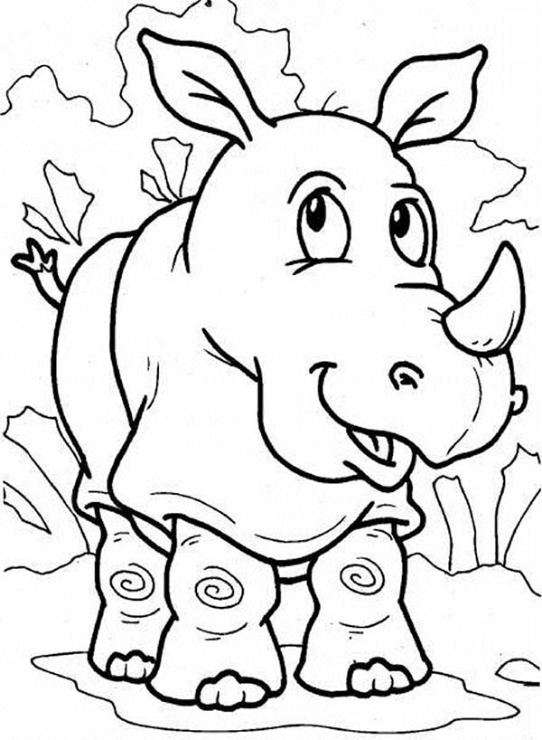 600x818 Rhino Is Thinking Coloring Pages Batch Coloring
