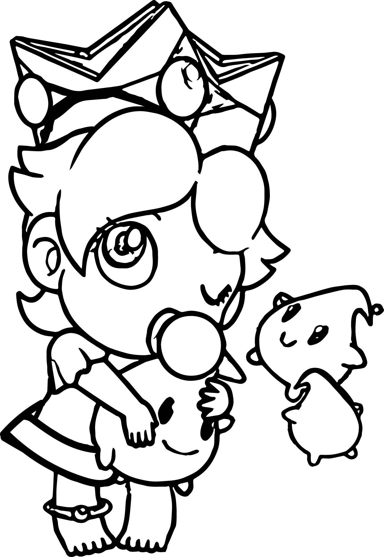 1272x1847 Baby Rosalina Peach Daisy And Rosalina As Babies Coloring Page