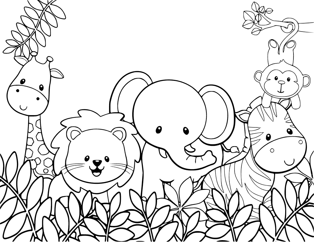1024x790 Safari Animals Coloring Pages