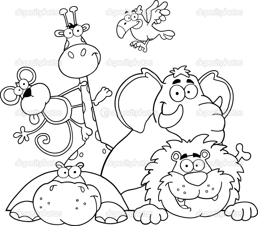 1023x897 Jungle Animal Coloring Pages Safari Page Outlined Animals Stock