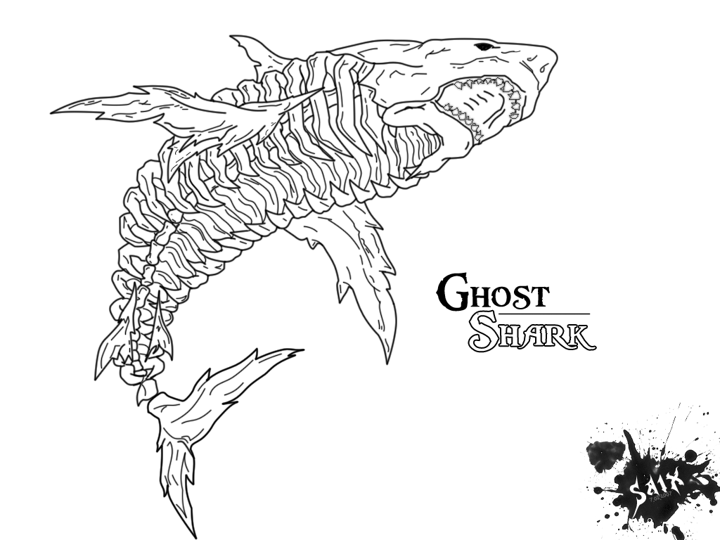 1024x768 Great White Shark Coloring Pages