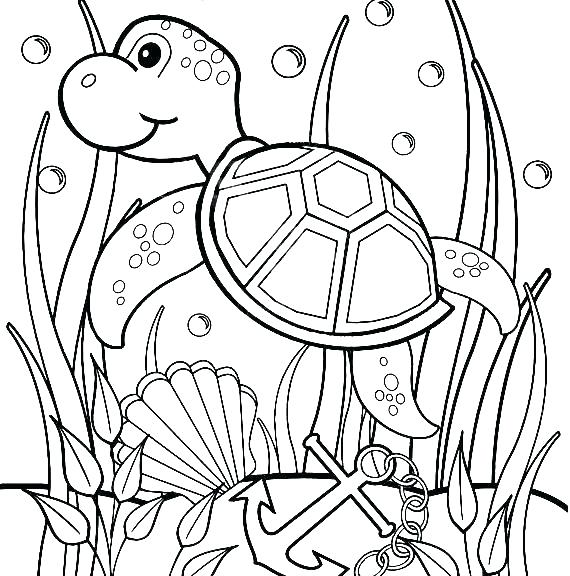 570x576 Cute Baby Turtle Coloring Pages Ninja Turtles To Print Sea