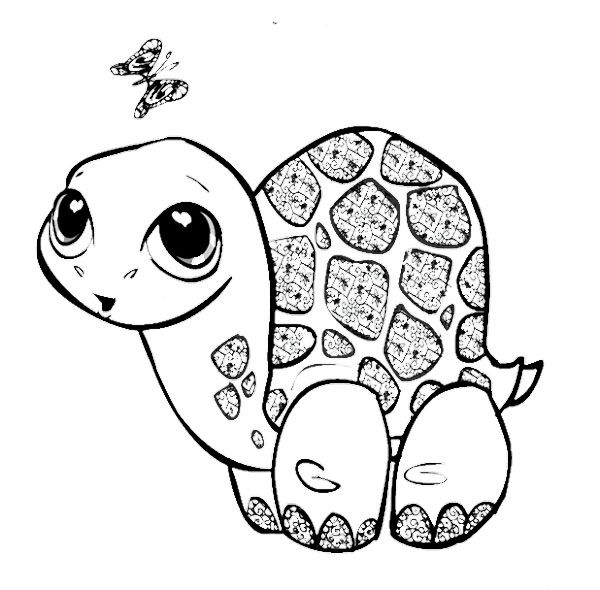 600x590 Cute Baby Turtle Coloring Pages Kids Coloring Pages