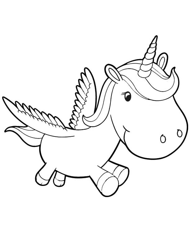 612x792 Cute Baby Unicorn Coloring Pages