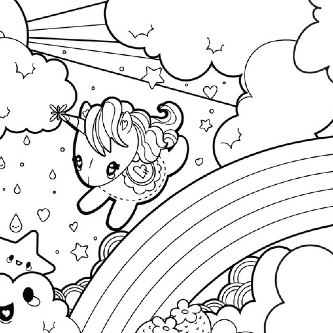1170x1170 Baby Unicorn Coloring Pages For Kids Pleasing Kawaii Fancy