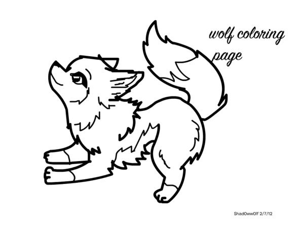 600x450 Cute Baby Wolf Coloring Pages