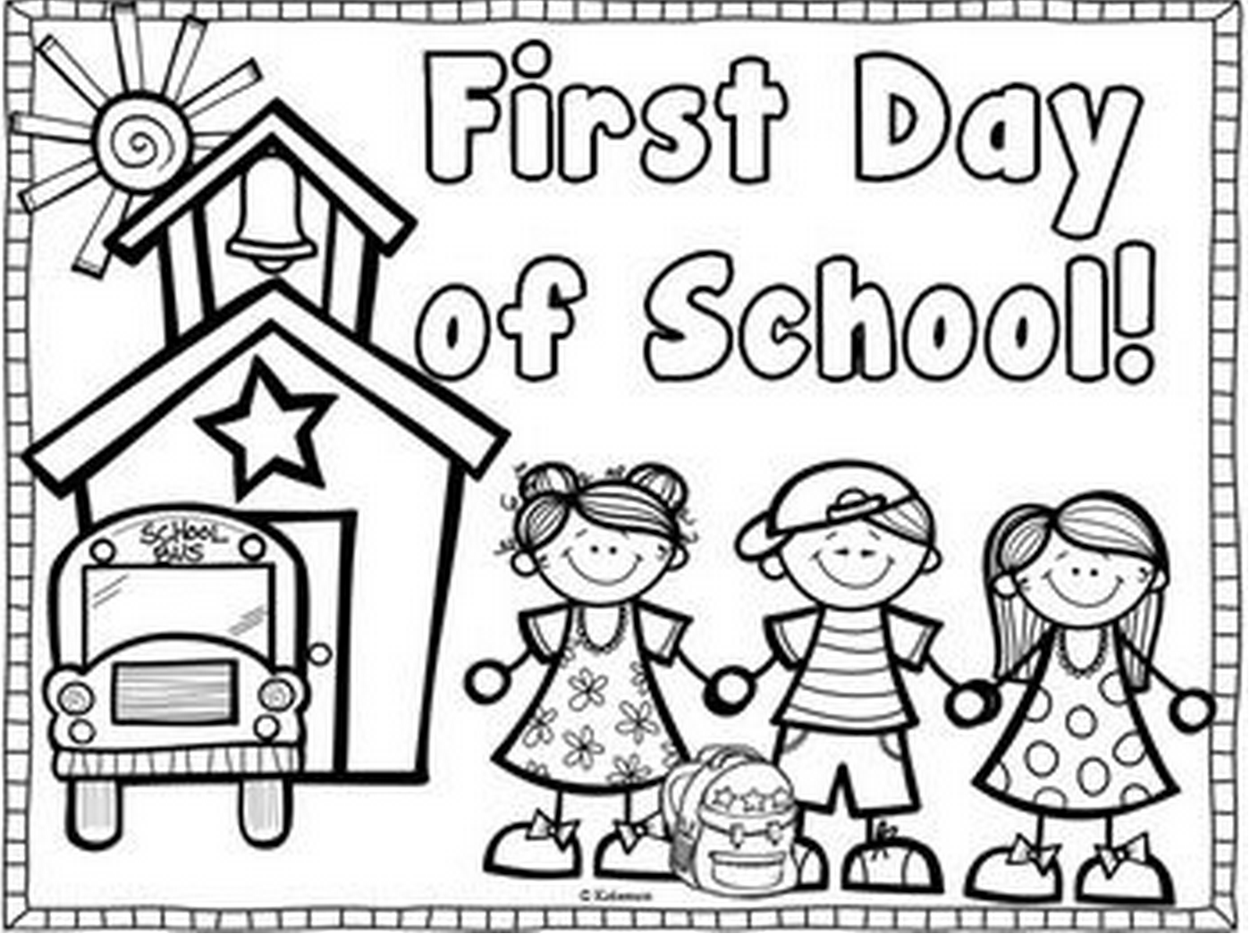 1398x1054 First Day Of School Coloring Book
