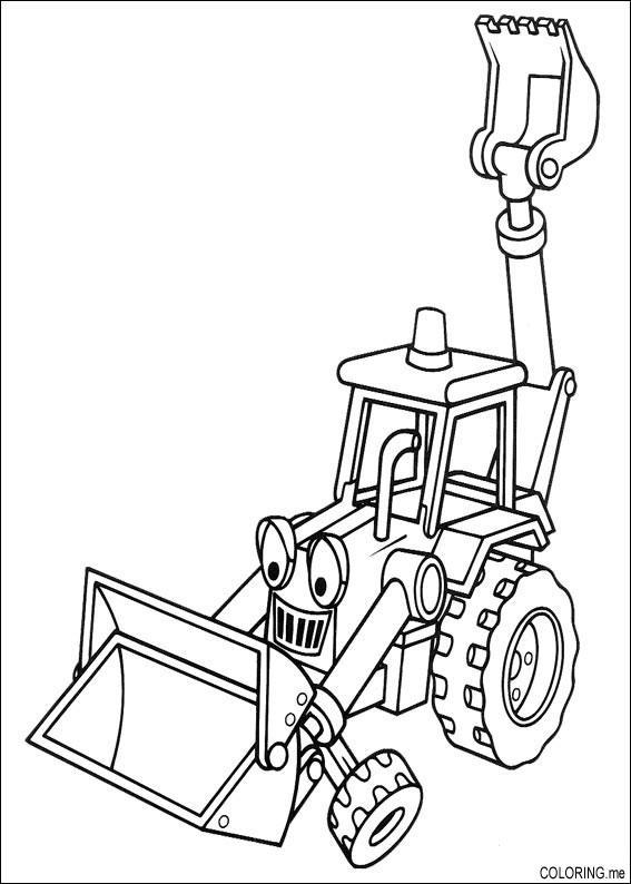 567x794 Coloring Page Bob The Builder Backhoe Excavator