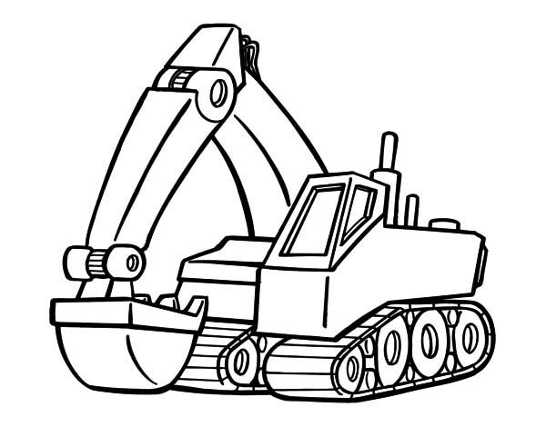 600x470 Digger Colouring Page