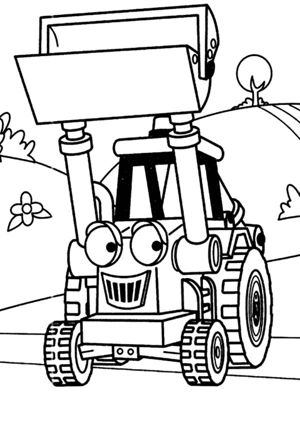 600x842 Muck The Tractor In Digger Coloring Page Color Luna