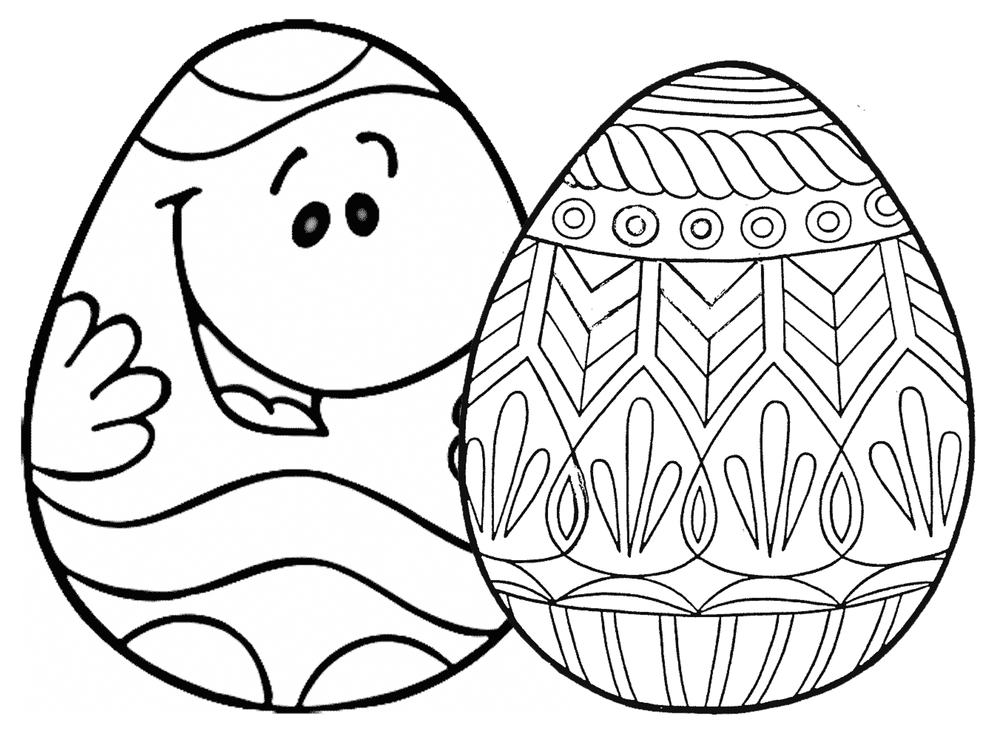 2000x1500 Bird And Decorated Eggs Coloring Pages Page Dinosaur Free