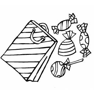 300x300 Gift Bag With Candies Coloring Page