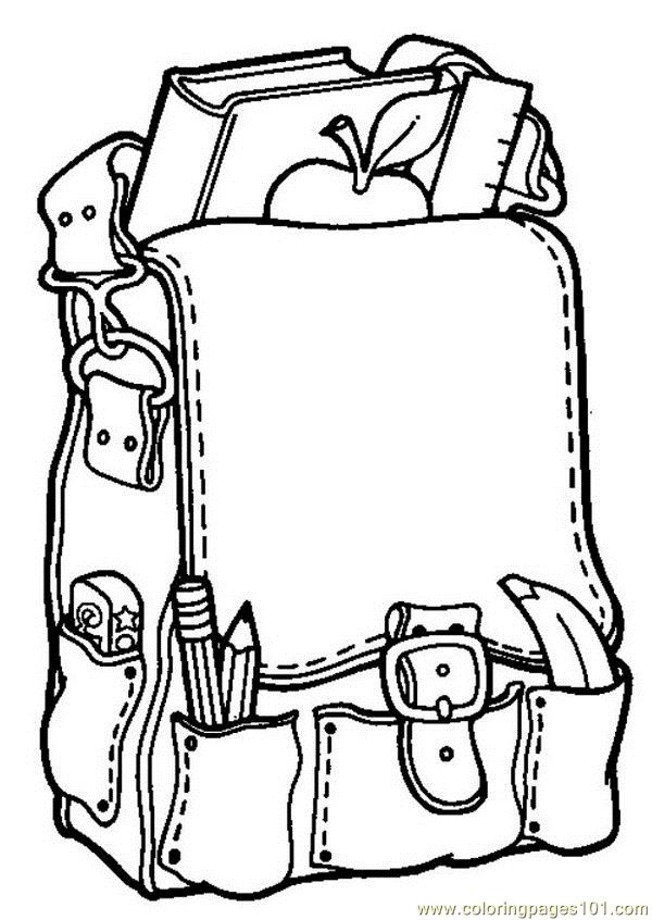 600x846 School Bag Coloring Page