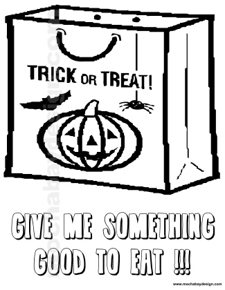 325x420 Candy Treat Bag Printable Halloween Kids Coloring Page