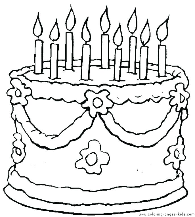 687x764 Cake Coloring Pages Awesome Birthday Cake Coloring Page Best