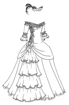 236x357 Ball Gown Coloring Page For Girls, Printable Free Coloring Pages