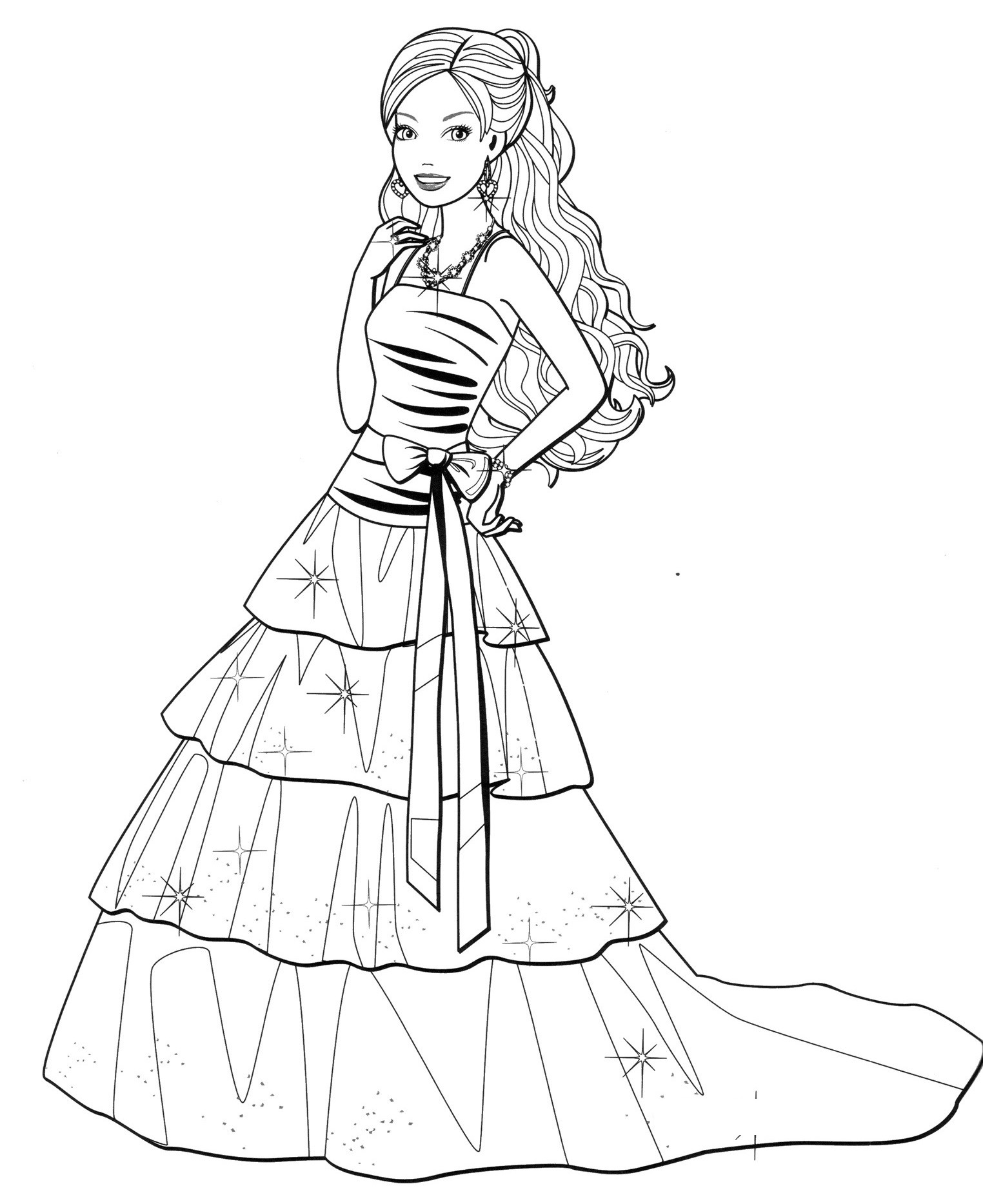 1524x1867 Barbie Dress Coloring Page For Girls Beautiful Fashion Dress