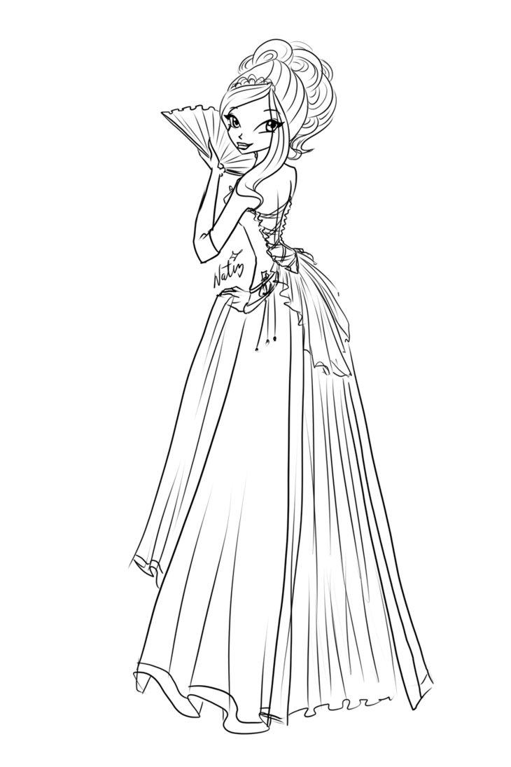 730x1095 Com Sketch Rose Ball Dress