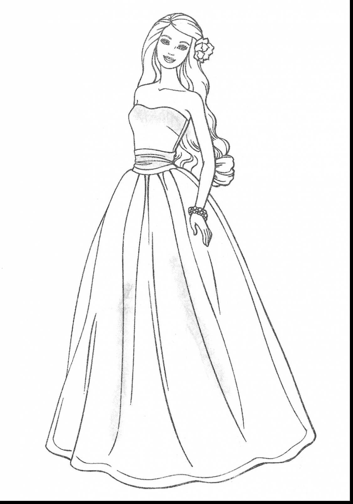 1126x1607 Fascinating Evening Dress For Women Colouring Pages