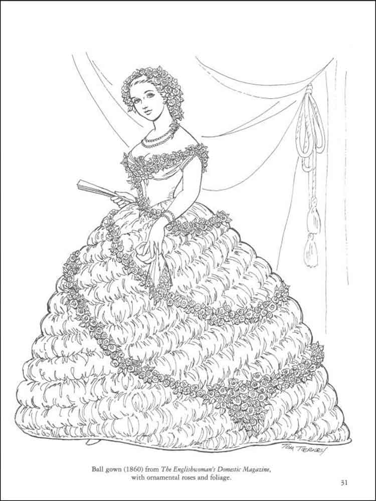 Ball Gown Coloring Pages At Getdrawings