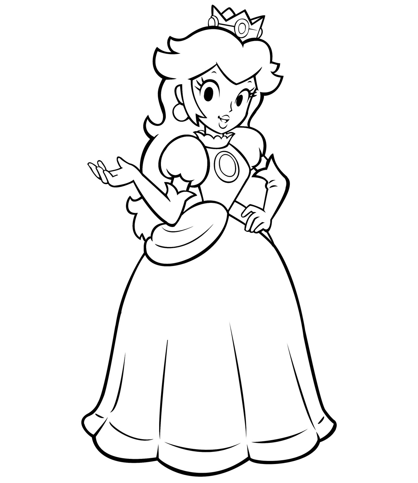 1387x1600 Princess In Ball Gown Dress Coloring Page
