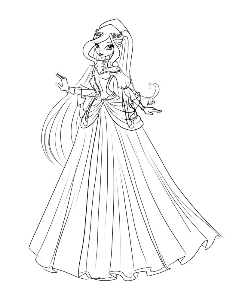 785x1018 Ball Gown Colouring Pages