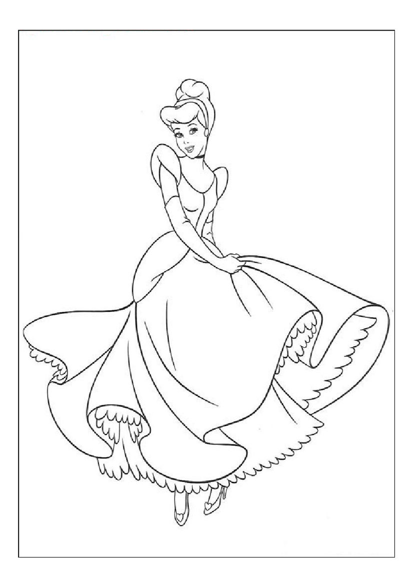 826x1169 Ball Gown Coloring Page For Girls Printable Free Pages With Disney