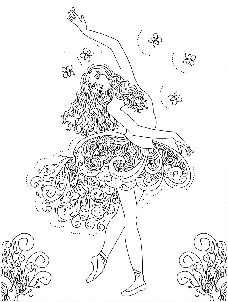 785x1040 Ballet Coloring Pages For Adults Printable Dancer