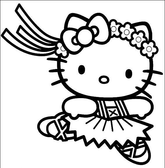 567x577 Ballerina Coloring Pages Hello Kitty Ballerina Coloring Page