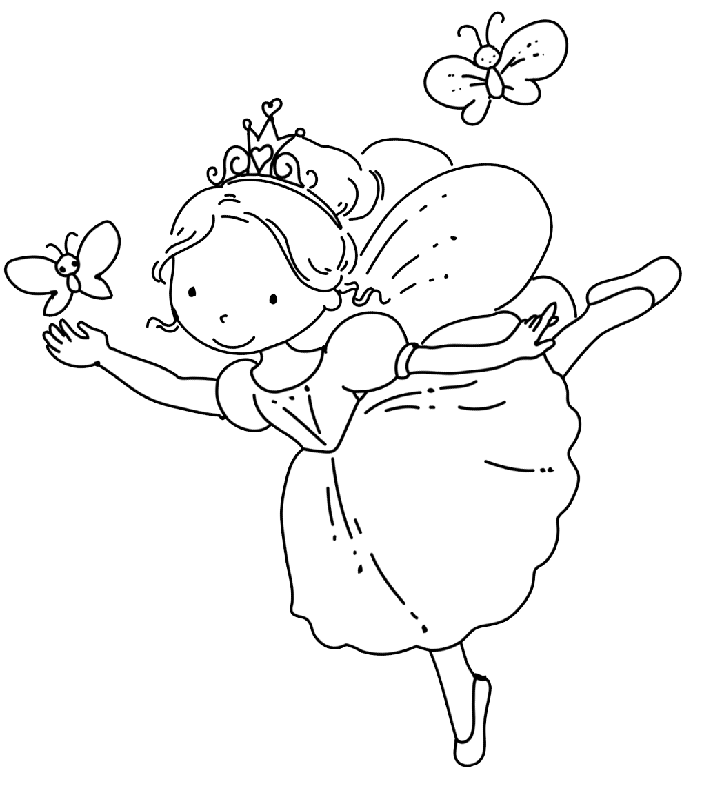 Ballerina Fairy Coloring Pages