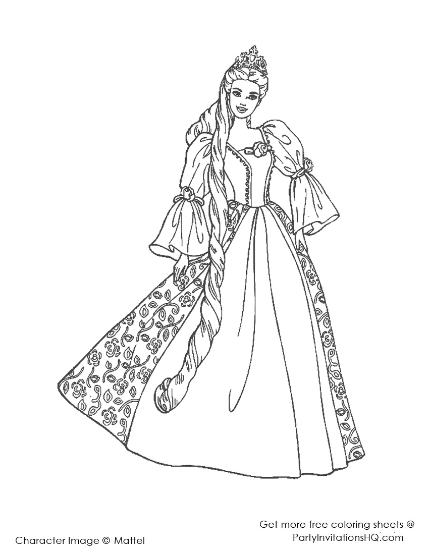 850x1100 Barbie Princess Coloring Pages Coloring Page For Kids Kids Coloring