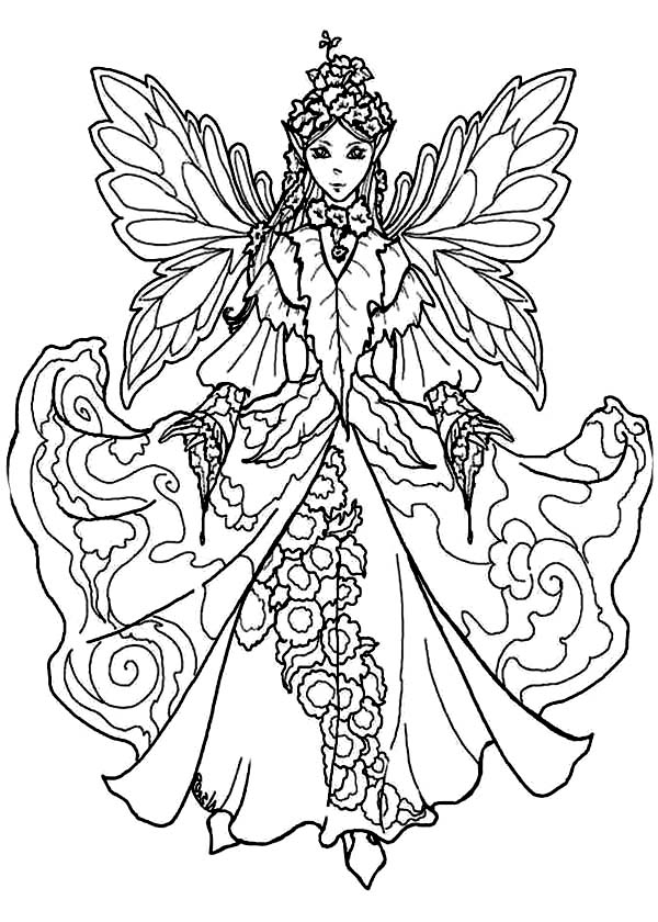 600x840 Fairy Queen Wearing Awesome Dress Coloring Pages Batch Coloring