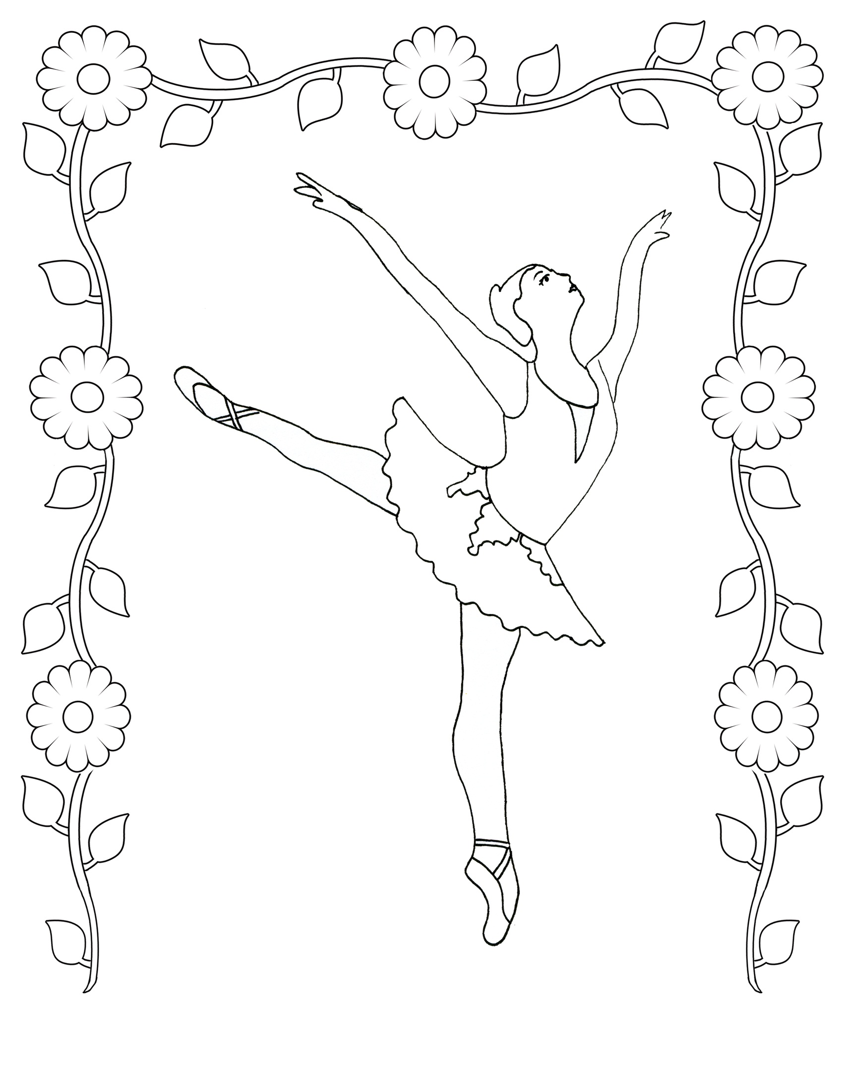 1700x2200 L New Ballerina Fairy Coloring Pages Pdf Sheets Cartoons For Free