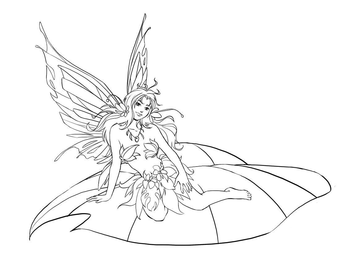 1099x882 Realistic Fairy Coloring Pages Adults To Print Coloring