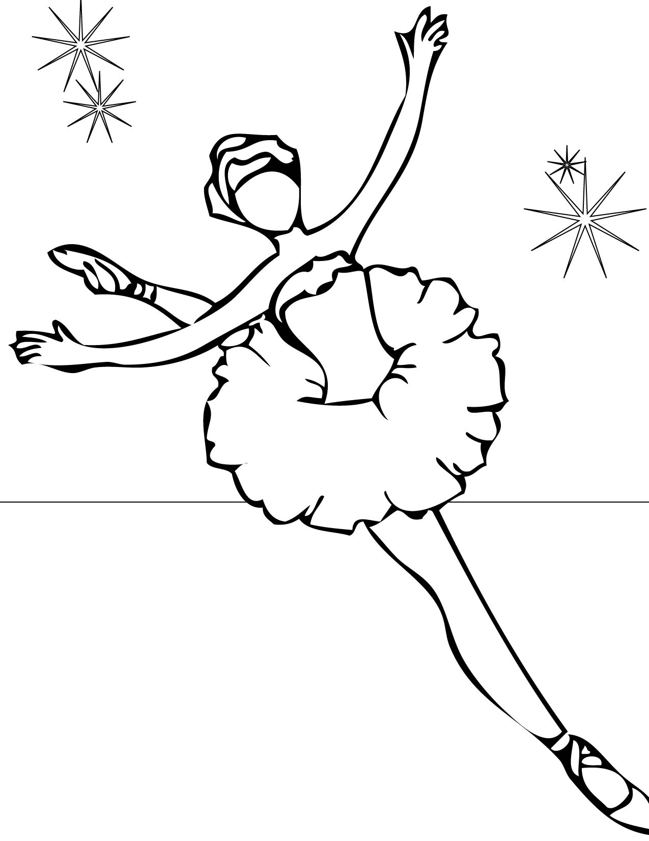 1275x1650 Ballet Coloring Page